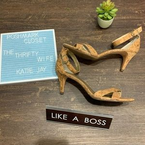 Coach and Four Tan Cork Heels Size 9.5